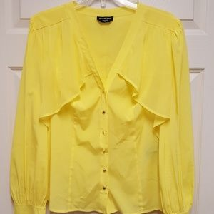Bebe Yellow Cape Blouse Long Sleeve Top